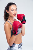 Portrait of a beautiful female boxer Royalty Free Stock Photos