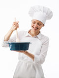 Portrait of beautiful female chef cook Royalty Free Stock Images
