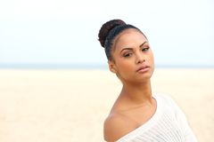 Portrait of a beautiful female fashion model at the beach Stock Photos