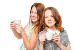 Portrait of a beautiful female friends with tea Royalty Free Stock Images