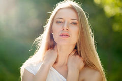 Portrait of a beautiful female model - outdoors Royalty Free Stock Photography
