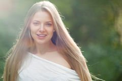 Portrait of a beautiful female model - outdoors Royalty Free Stock Photos