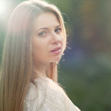 Portrait of a beautiful female model - outdoors Royalty Free Stock Image