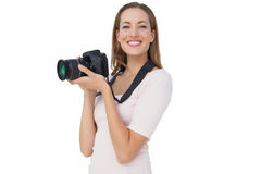 Portrait of a beautiful female photographer Stock Photos