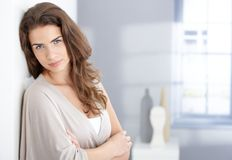 Portrait of beautiful female smiling at home Royalty Free Stock Photography