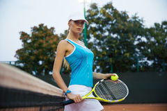 Portrait of a beautiful female tennis player Royalty Free Stock Image