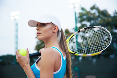 Portrait of a beautiful female tennis player Royalty Free Stock Photo
