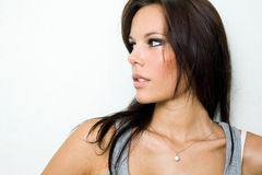 Portrait of beautiful fit young brunette girl. Royalty Free Stock Images