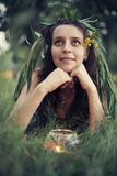 Portrait of a beautiful forest fairy Royalty Free Stock Image