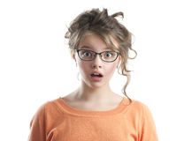 Portrait of beautiful frightened girl. Royalty Free Stock Photography