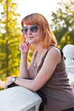 Portrait of a beautiful ginger-haired woman Stock Photography