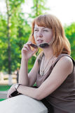Portrait of a beautiful ginger-haired woman Royalty Free Stock Photos