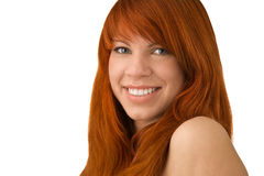 Portrait of beautiful ginger-haired woman with full sensuous lip. S isolated on white Royalty Free Stock Image
