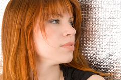 Portrait of beautiful ginger-haired woman with full sensuous lip. S on silver background Royalty Free Stock Photos