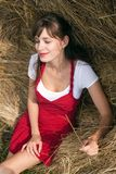 Portrait of the beautiful girl. Portrait of a beautiful woman with hay Stock Image