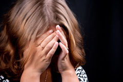 Portrait of beautiful girl. #11. Portrait of beautiful girl with hands covering face. #11 stock image