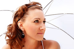 Portrait of a beautiful girl. With an umbrella Stock Images
