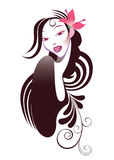 Portrait beautiful girl. Vector illustration of a beatiful girl with windblown hair Royalty Free Stock Images
