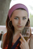 Portrait of the beautiful girl. With a glass of beer Stock Image