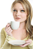 The portrait of the beautiful girl. With coffe cup stock image