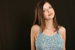 Portrait of the beautiful girl. Good mood royalty free stock photo