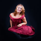Portrait of beautiful girl. #8. Portrait of beautiful smiling girl in red dress. #8 royalty free stock images