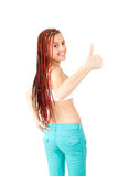 Portrait of beautiful girl with african plaits and thumb up Royalty Free Stock Photo