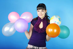 Portrait beautiful girl with air ball Royalty Free Stock Photo