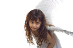 Portrait of beautiful girl with angel's wings Stock Photos