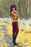 Portrait of a beautiful girl on the autumn alley in full growth Stock Photography