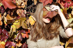 Portrait of beautiful girl in autumn leaves Stock Photo