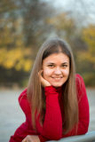 Portrait of a beautiful girl on the autumn park Royalty Free Stock Images