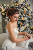 Portrait of a beautiful girl on the background of Christmas tree Stock Photo
