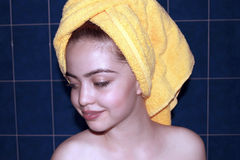 Portrait of the beautiful girl in bath towel Royalty Free Stock Photos