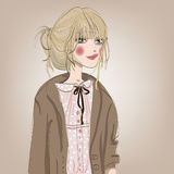 Portrait of beautiful girl. Portrait of beautifulyoung woman with blonde hairs stock illustration