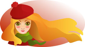 Portrait of Beautiful girl in beret. Autumn wallpaper. Cartoon drawn portrait of beautiful smiling girl in beret and scarf royalty free illustration