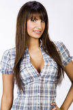 Portrait of beautiful girl with big breasts in tight shirt Stock Photo