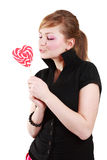 Portrait of beautiful girl with big lollipop Stock Photo