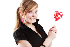 Portrait of beautiful girl with big lollipop Stock Image