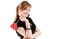 Portrait of beautiful girl with big lollipop Royalty Free Stock Photography