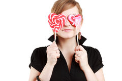 Portrait of beautiful girl with big lollipop Royalty Free Stock Image