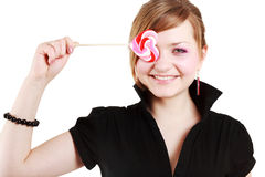 Portrait of beautiful girl with big lollipop Stock Images