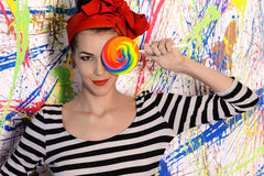 Portrait of beautiful girl with big lollipop Royalty Free Stock Photos