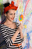 Portrait of beautiful girl with big lollipop Royalty Free Stock Photo