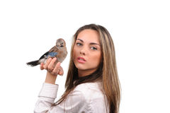 Portrait of beautiful girl with bird Royalty Free Stock Image
