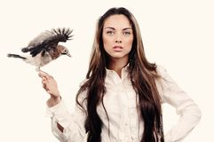 Portrait of beautiful girl  with bird on the hand Royalty Free Stock Photos
