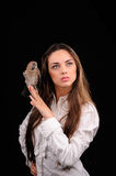 Portrait of beautiful girl with bird Royalty Free Stock Photo