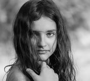 Portrait of a beautiful girl. Black and white photography. Stock Photo