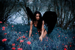 Portrait of a beautiful girl with black wings a demon. In the nature of fashion style Stock Photo