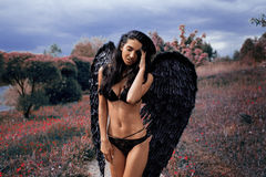 Portrait of a beautiful girl with black wings a demon Stock Image